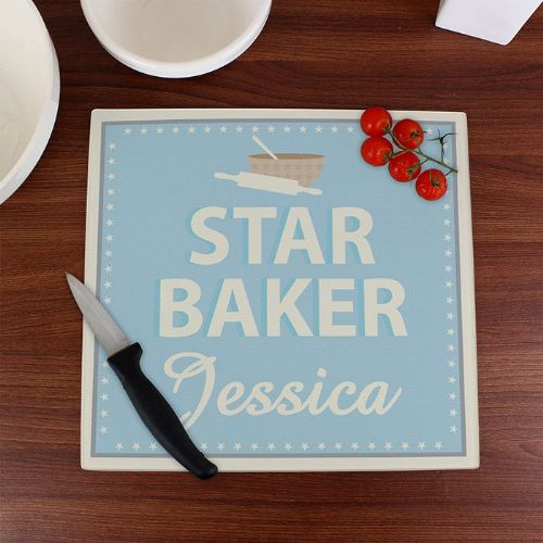 Personalised Star Baker Glass Chopping Board